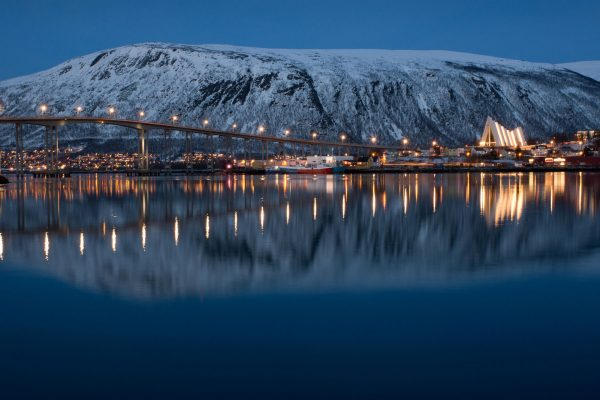 northern norway tromso bridge at night adstk