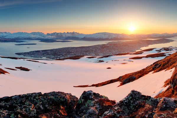 northern norway tromso distant view sunset adstk
