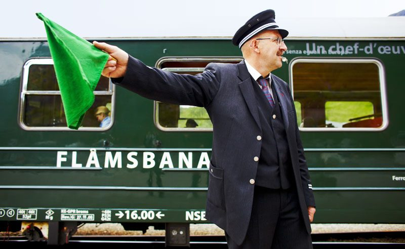 norway fjords flamsbana railway guard vf