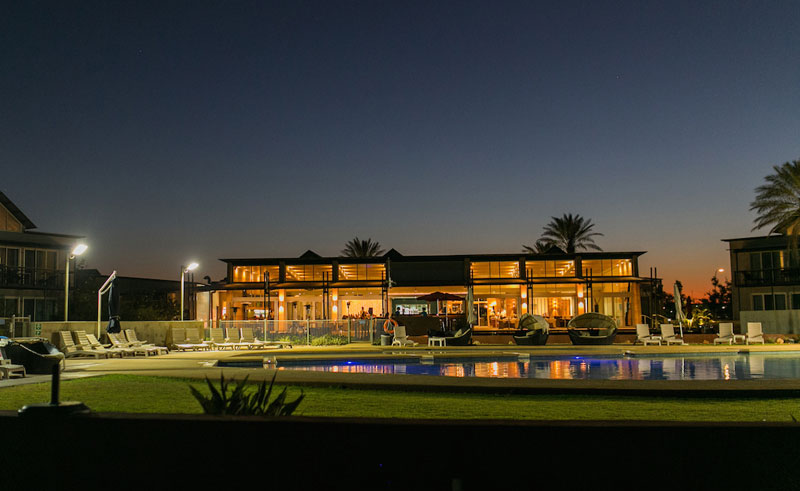 novotel ningaloo resort exterior at night