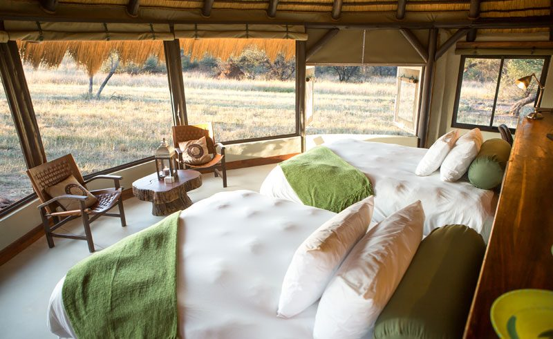 okonjima bush camp bedroom interior