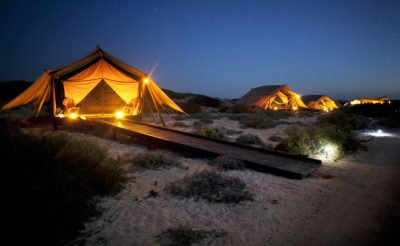 sal salis wilderness camp tents at night