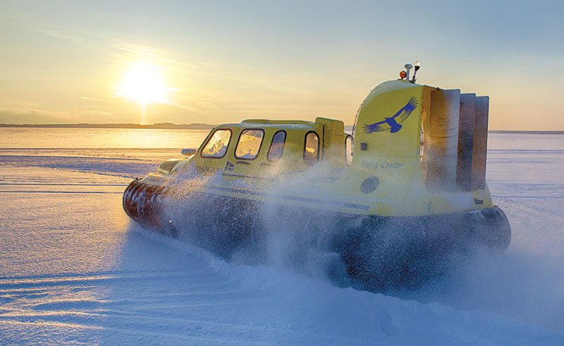 sweden lapland hovercraft winter