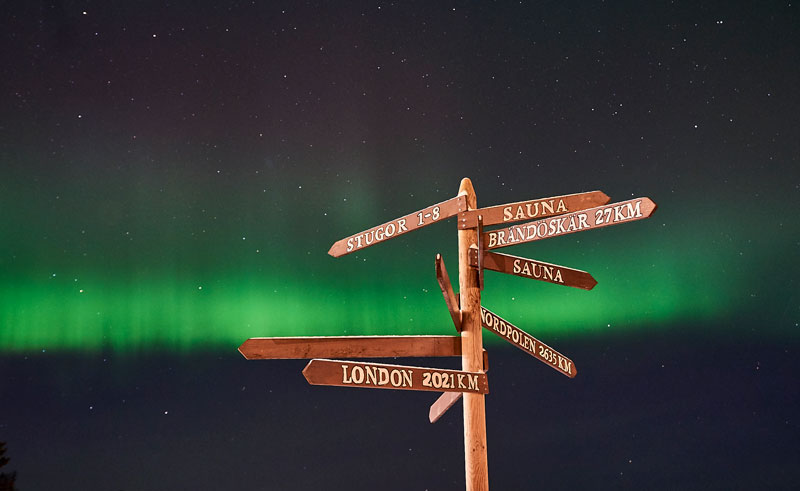 sweden lapland signpost brandon lodge swelap