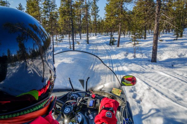 sweden lapland snowmobile forest pov icehotel rth