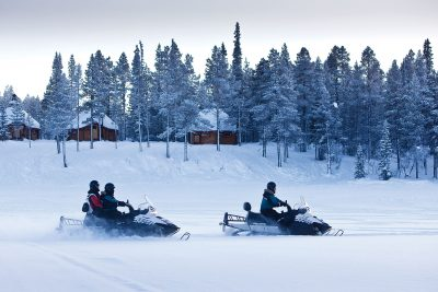 sweden lapland snowmobile pair icehotel rth