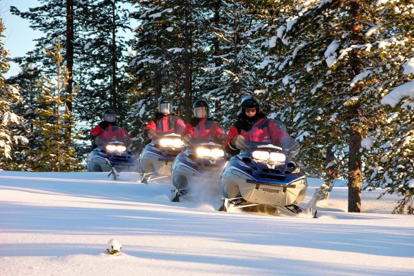 sweden lapland snowmobiles through forest lmb