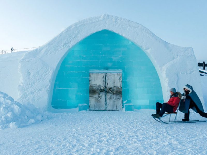 swedish lapland icehotel entrance kick sled gte
