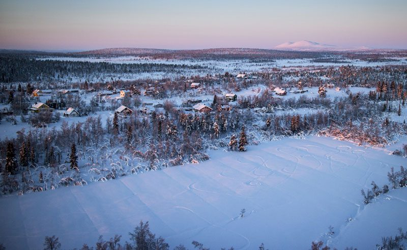 swedish lapland lannavaara aurora mountain lodge aerial