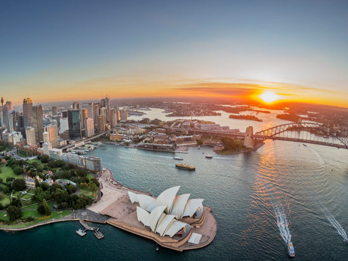 australia new south wales sydney harbour sunset dnsw