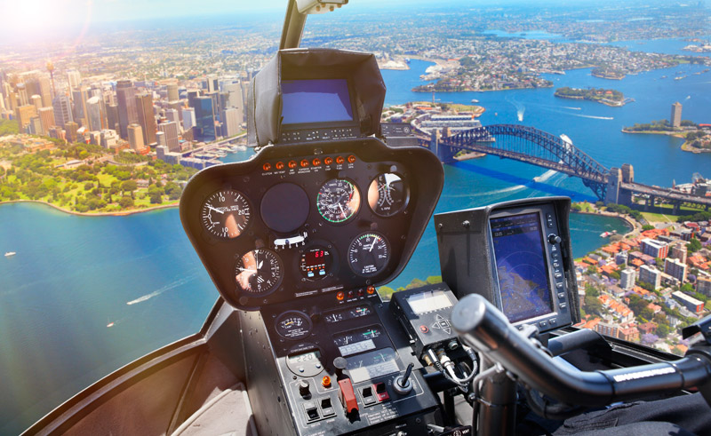 australia sydney view from helicopter cockpit dnsw