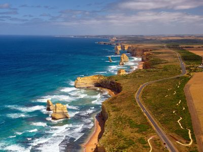 australia victoria great ocean road twelve apostles aerial view adsk