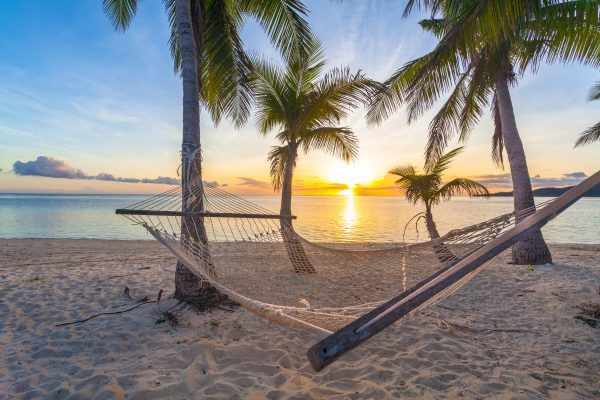 fiji beach hammock at sunset istk