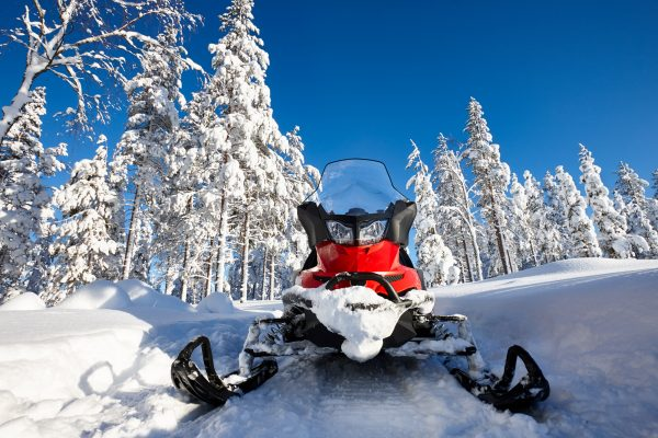 finland lapland snowmobile front on taiga istk