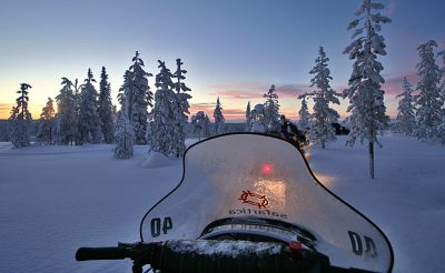 finnish lapland snowmobiling evening vf