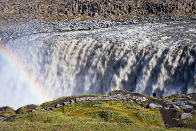 iceland north east dettifoss lone figure rainbow istk