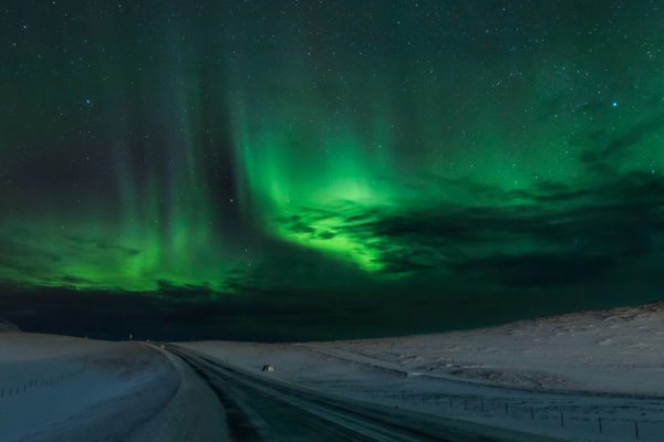 iceland snaefellsnes winter road with aurora istk