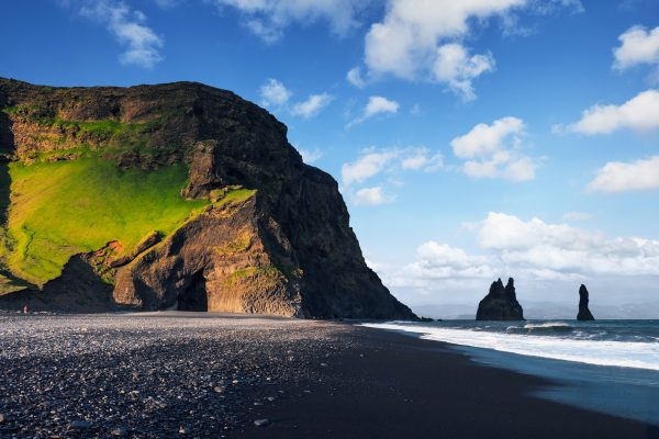 iceland south west reynisfjara beach lone figure istk