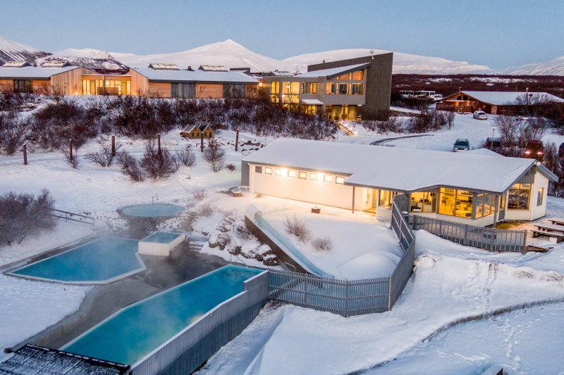 iceland west geothermal pools winter hotel husafell