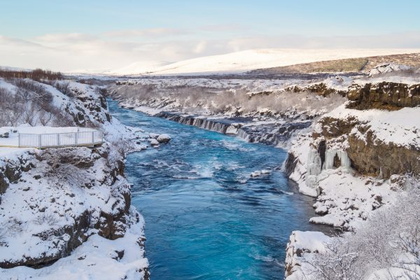 iceland west hraunfossar winter blue sky istk