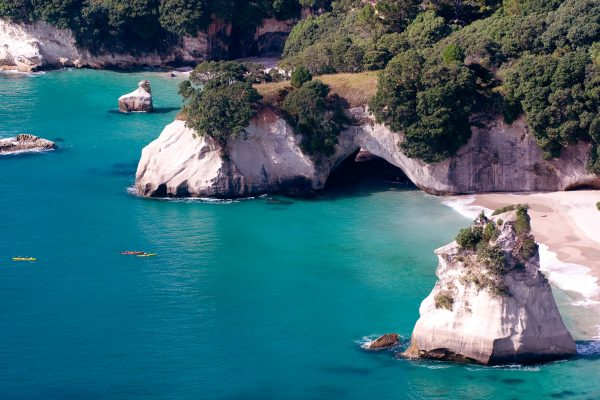 new zealand pacific coast cathedral cove aerial tcoro