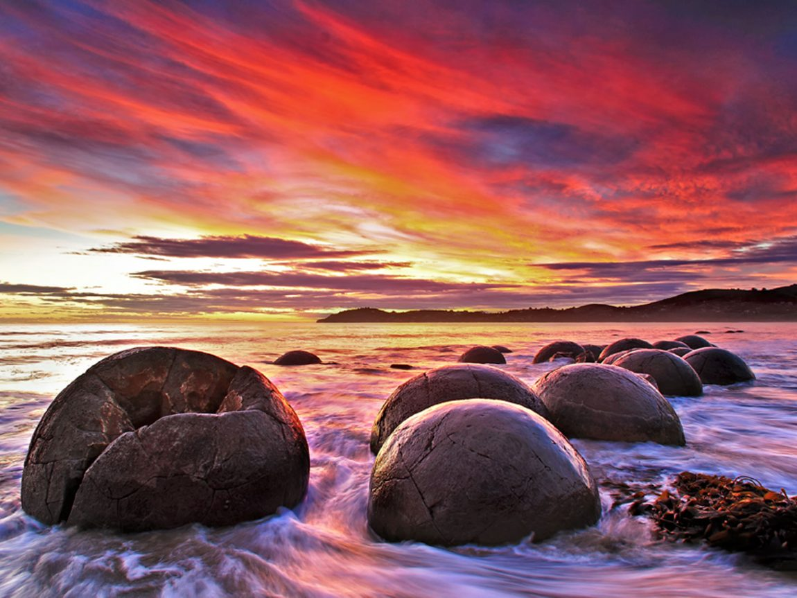 new zealand waitaki district moeraki boulders sunset mbc9