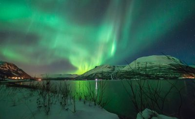 northern norway tromso aurora over mountains dt