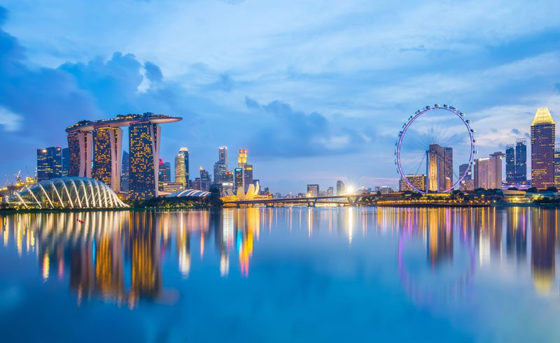 singapore skyline marina bay twilight istock