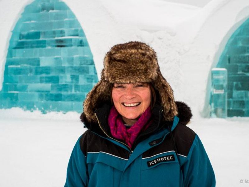 sweden lorraine kelly in front of icehotel steve smith