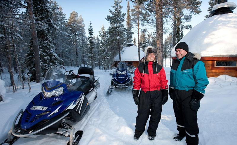 swedish lapland icehotel overnight snowmobile tour