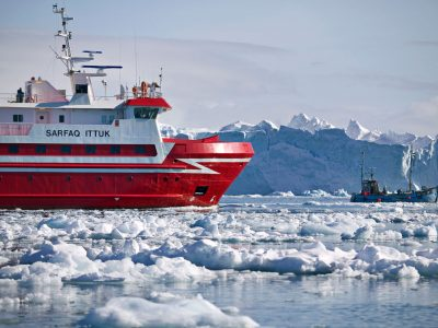 west greenland fishing boat and sarfaq ittuk ferry