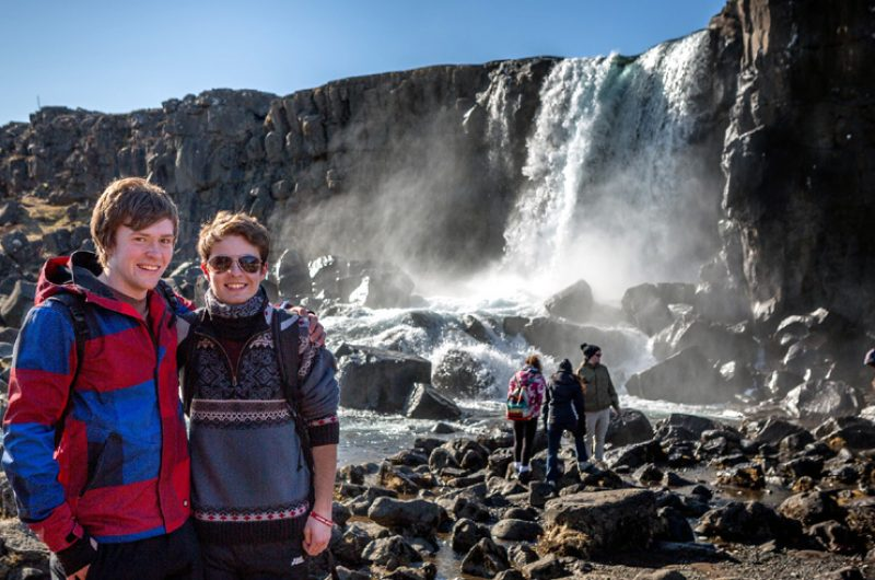 Iceland Students Boys Waterfall