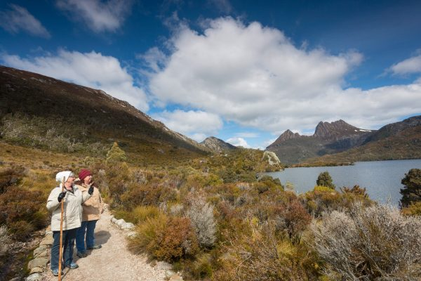 australia tasmania cradle mountain walk senior couple istk
