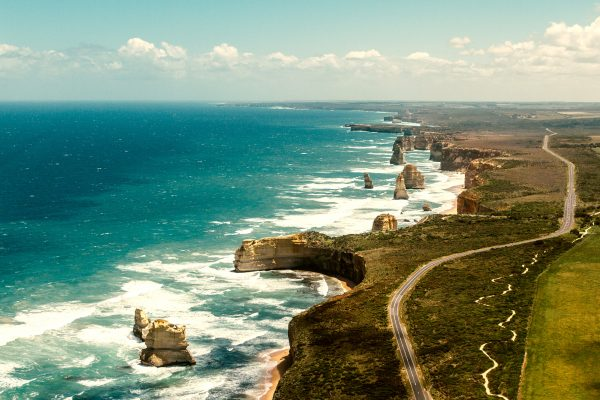 australia victoria aerial great ocean road twelve apostles