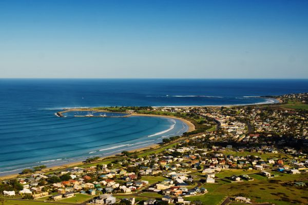 australia victoria view of apollo bay from marriners lookout istk