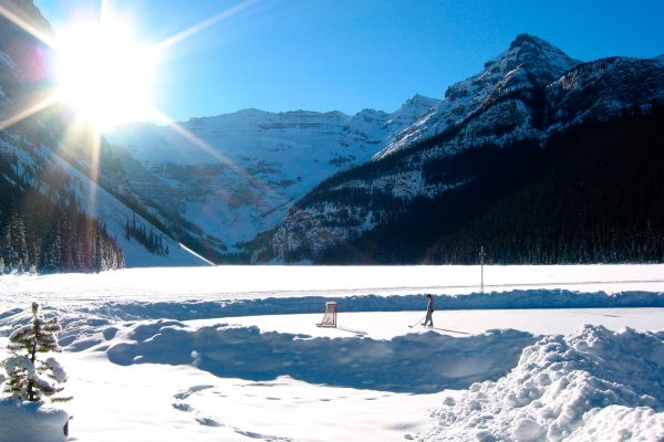 canada alberta banff lake louise view with pond hockey istk