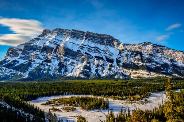 canada alberta mt rundle banff winter scene istk