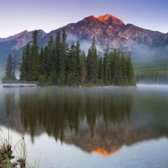 canada alberta pyramid lake morning mist istk