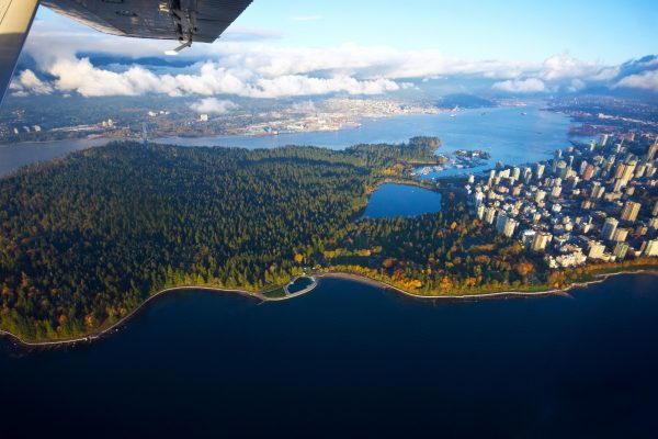 canada british columbia aerial view stanley park vancouver istk