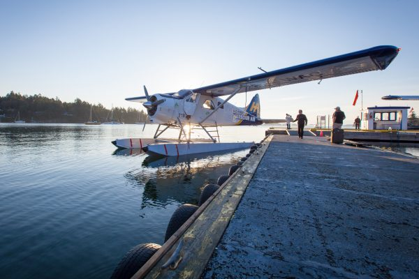 canada british columbia vancouver seaplane at dock hasplns