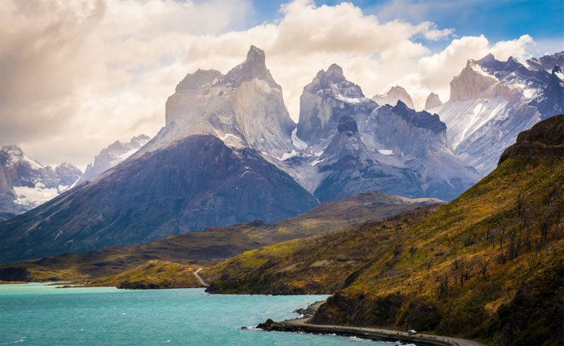 chile patagonia torres del paine lake and mountains