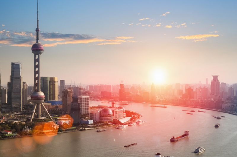 china shanghai skyline sunset