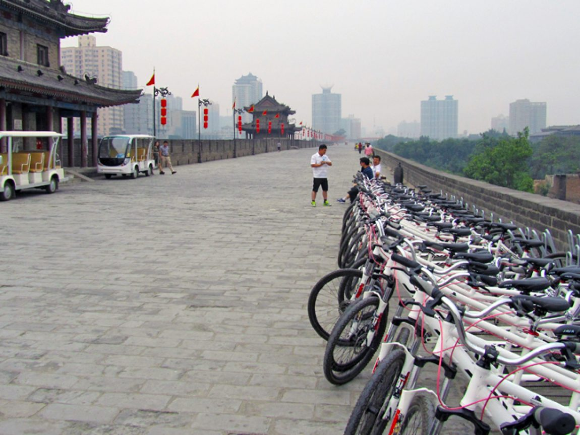 china xian bicycle on walls