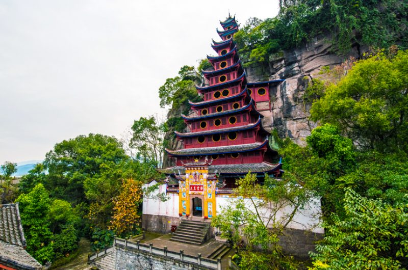 china yangtze river red pagoda