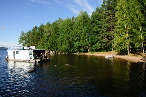 finland central houseboat by shoreline hf