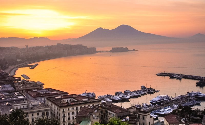 italy naples sunset vesuvius