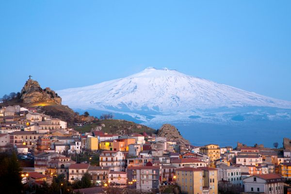 italy sicily mt etna snow capped view istk