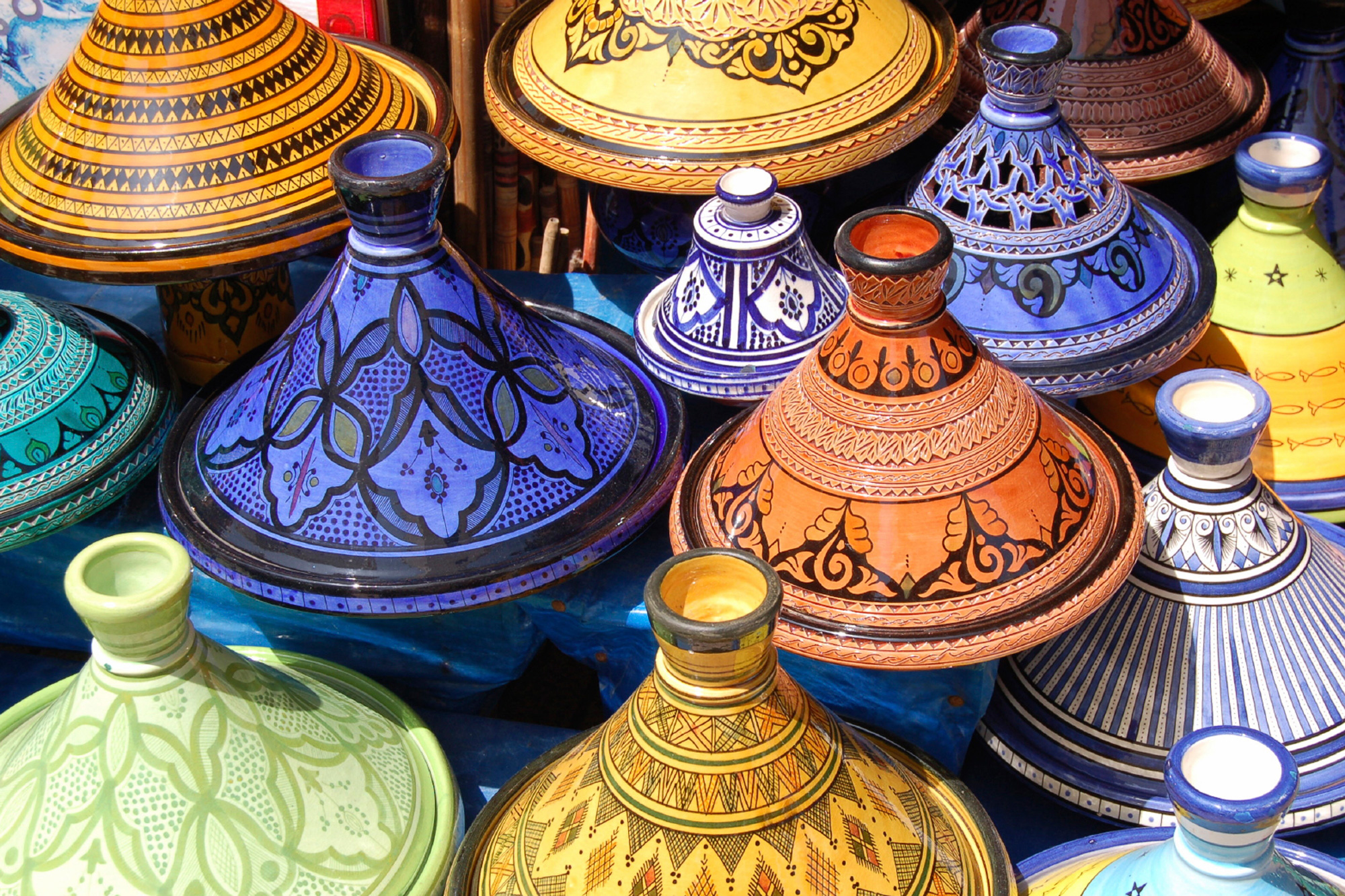 morocco tagine pots close up istk