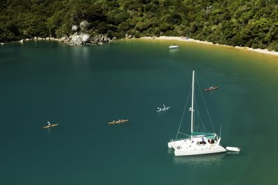 new zealand abel tasman catamaran moored in bay istk