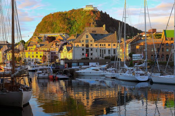 norway fjords alesund harbour evening light istk